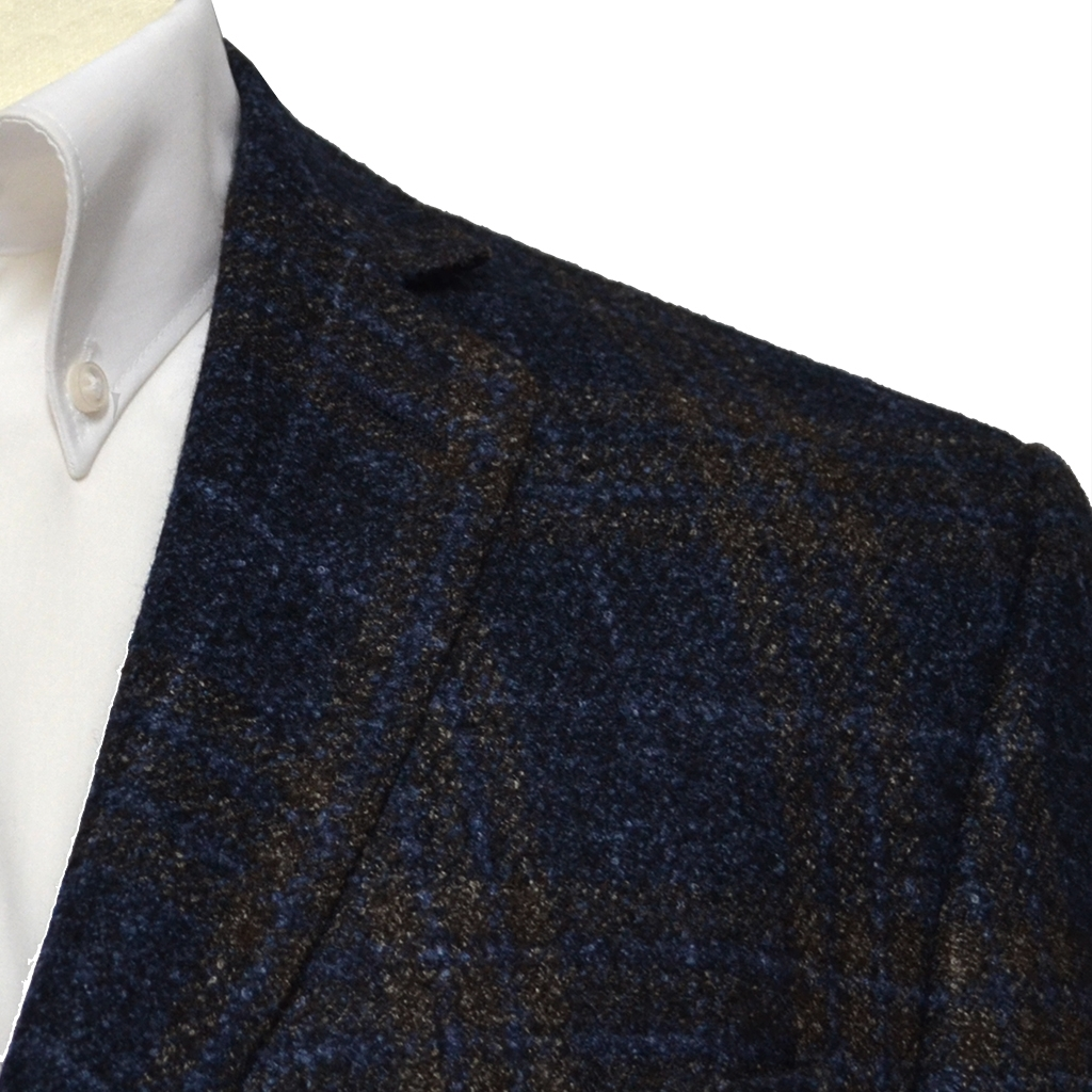Luxury Blue & Brown Check  - Italian Wool Silk & Linen Cloth
