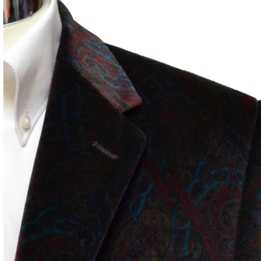 Printed Luxury Velvet Jacket - Wine