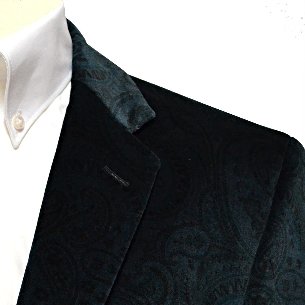 Printed Luxury Velvet Jacket - Blue