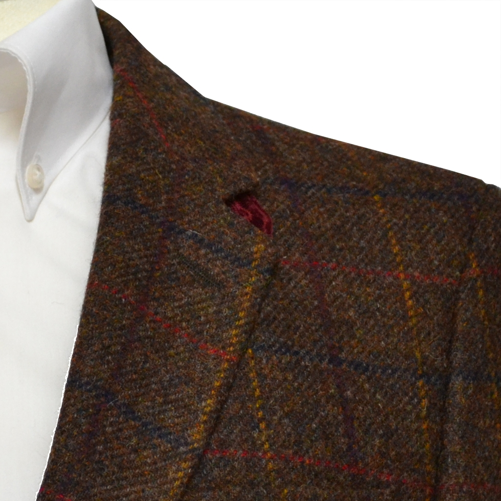 Brown Shetland Check Jacket with Wine Trim - Waistcoat Option Available