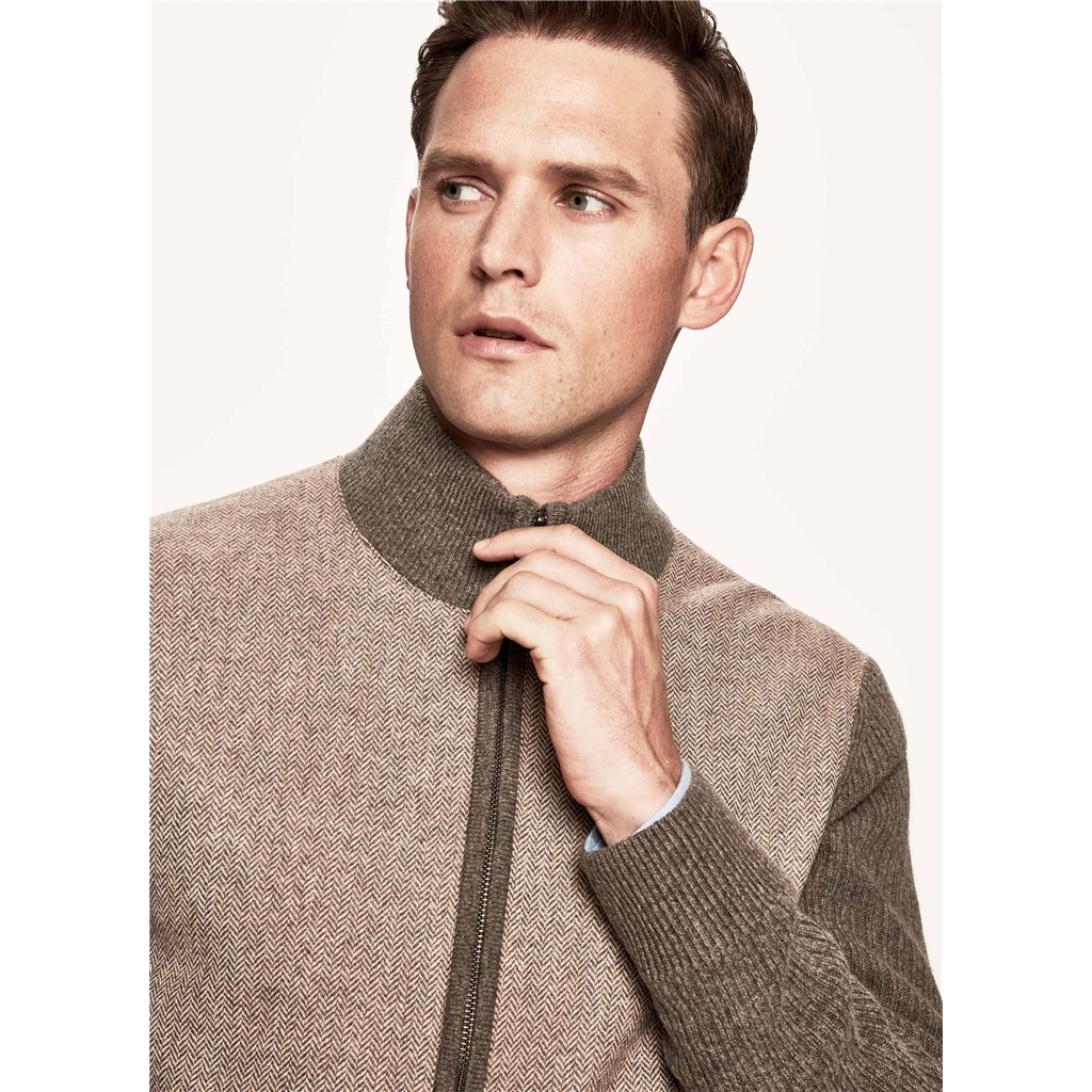 Autumn 2018 Hackett of London Herringbone Zip-Front Caridgan - Walnut