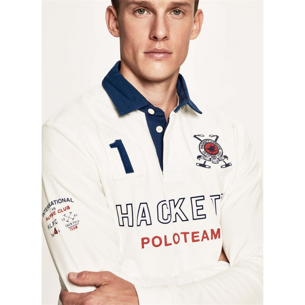 Autumn 2018 Hackett of London Snow Quilt Rugby Shirt - Chalk White