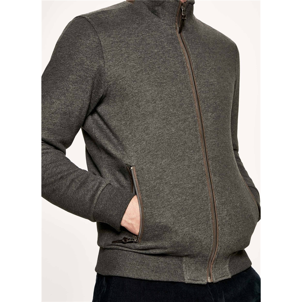 Autumn 2018 Hackett of London Cotton Jersey Zip-Front Sweater - Charcoal