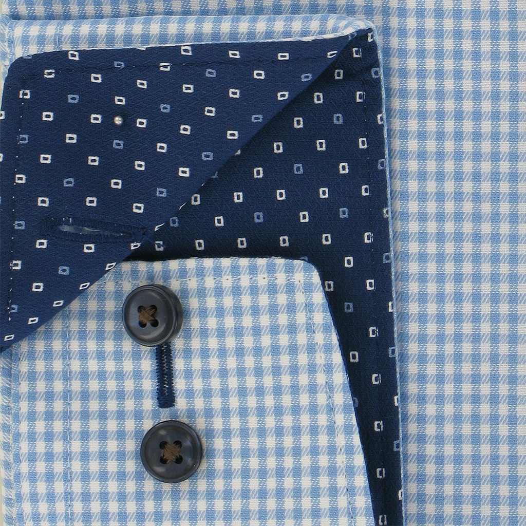 "Olymp Modern Fit Shirt - Sky Blue Gingham with Contrast Trim - Size 16"" Collar Only"