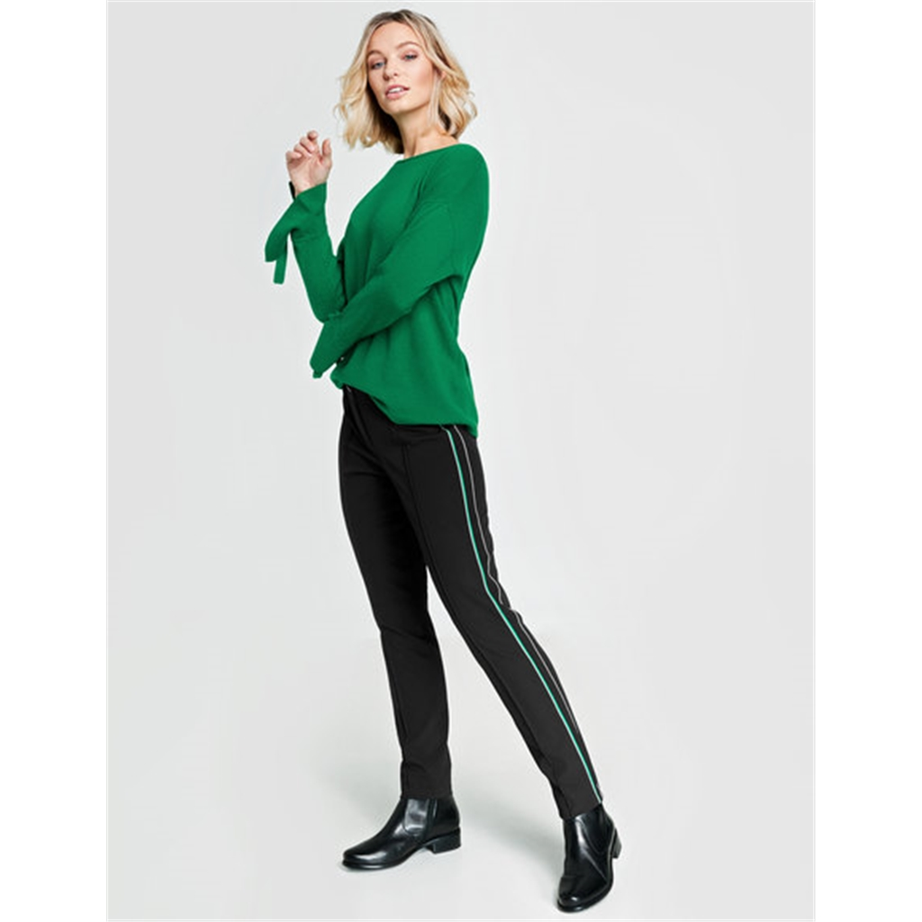 Gerry Weber Trousers with tuxedo stripes - Black