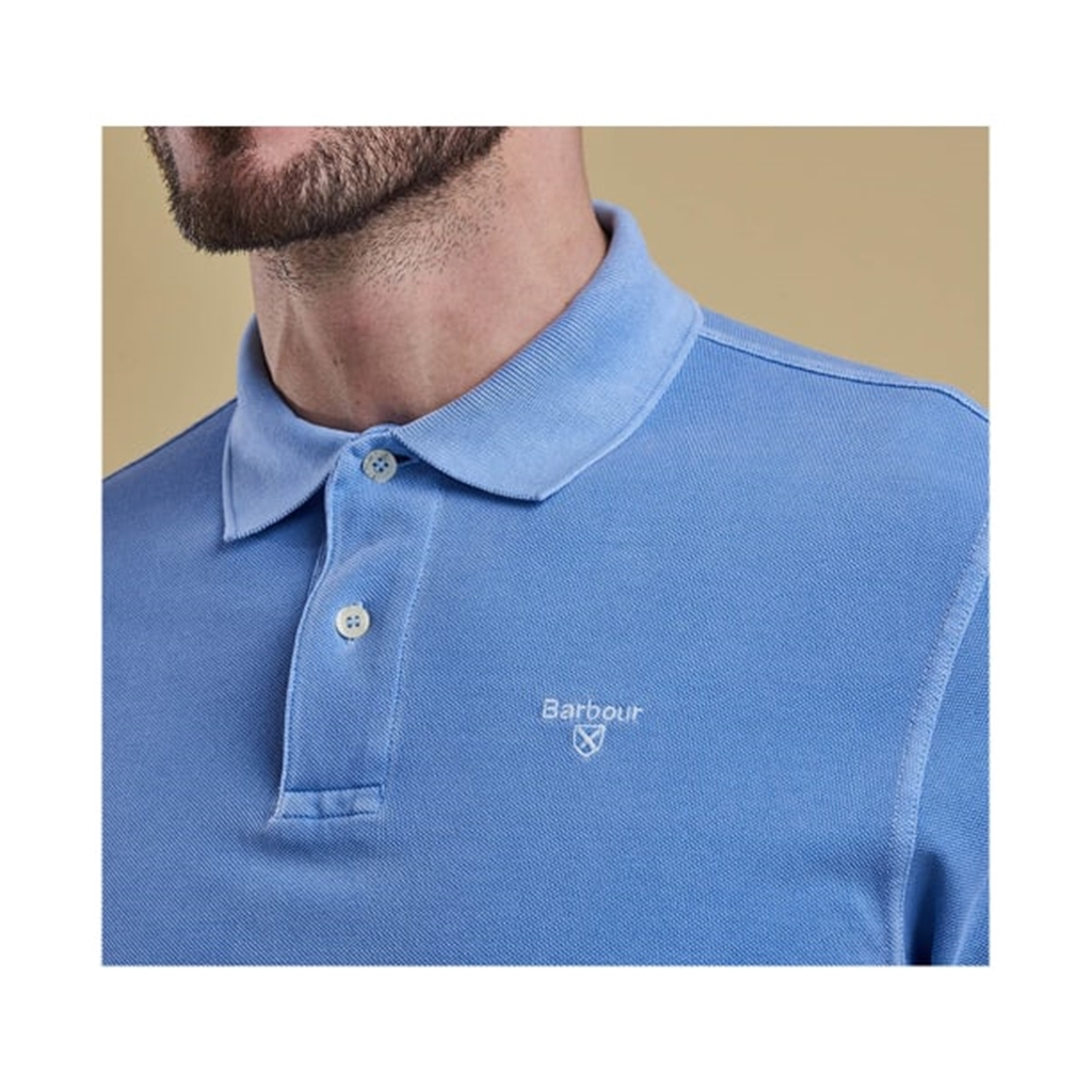 New 2019 Barbour Men's Washed Sports Polo-Shirt - Sky Blue