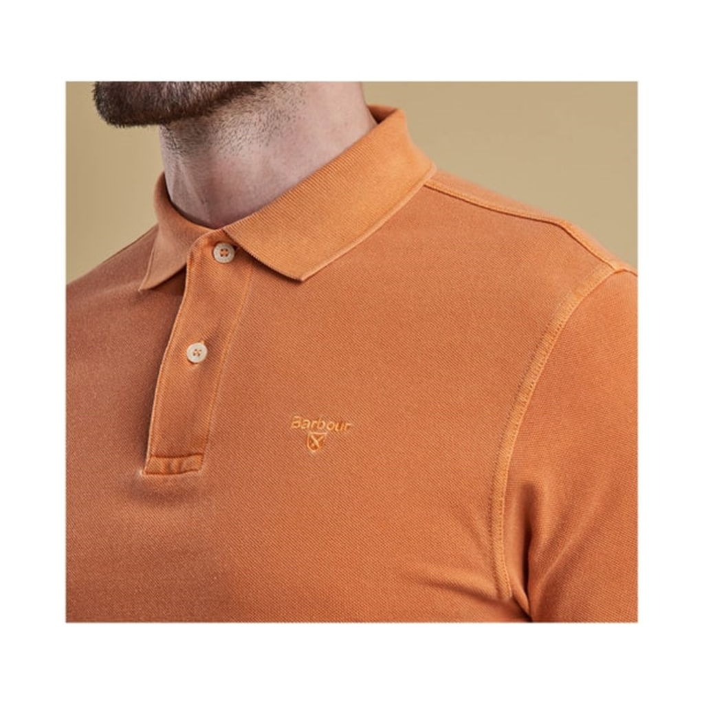 New 2019 Barbour Men's Washed Sports Polo-Shirt - Acid Orange