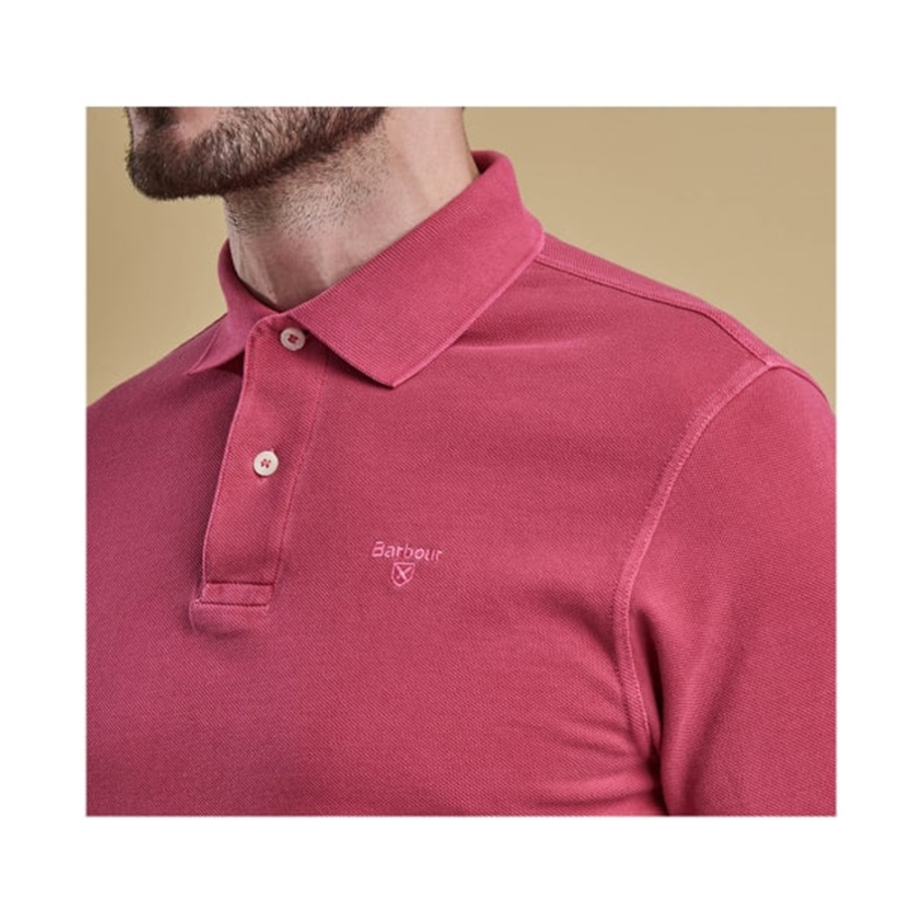 New 2019 Barbour Men's Washed Sports Polo-Shirt - Fuchsia