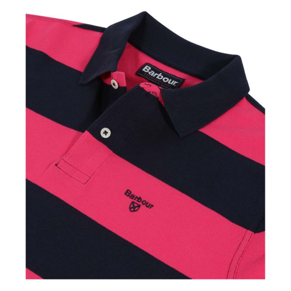New 2019 Barbour Men's Harren Stripe Polo-Shirt - Sorbet