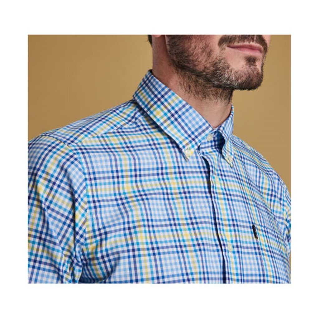 New 2019 Barbour Men's Tailored Cotton Shirt - Tattersall 3 - Blue with Check