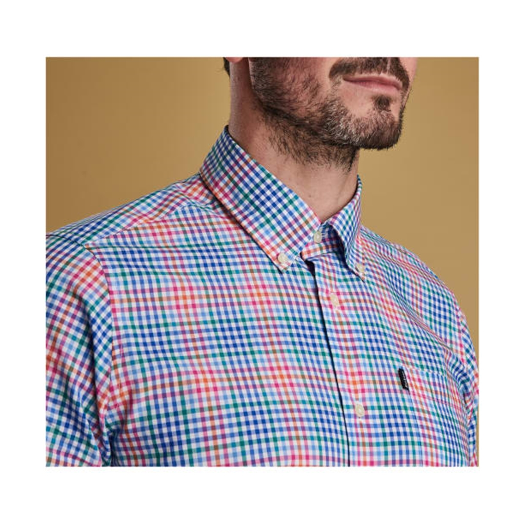 New  2019 Barbour Men's Tailored Cotton Shirt - Tattersall 3 - Pink with Check