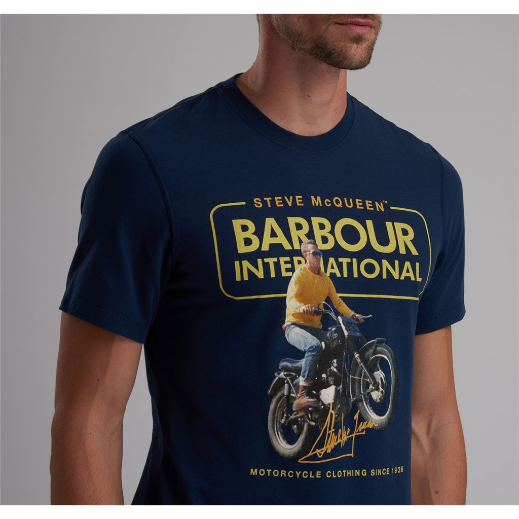 New 2019 Barbour International Men's Steve McQueen T-Shirt - Cooler - Dress Blue
