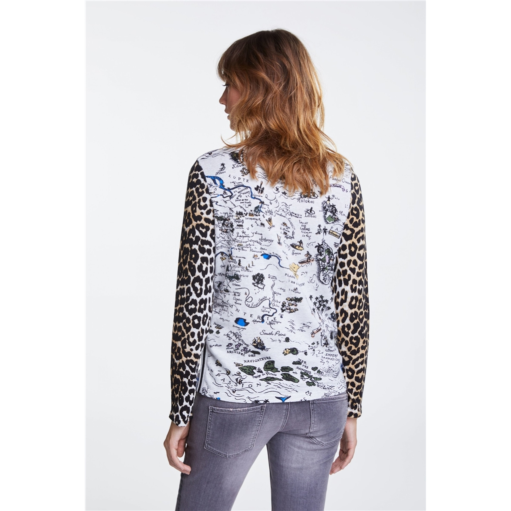 Oui Hawaii Meets Leopard Print Jumper - Multi