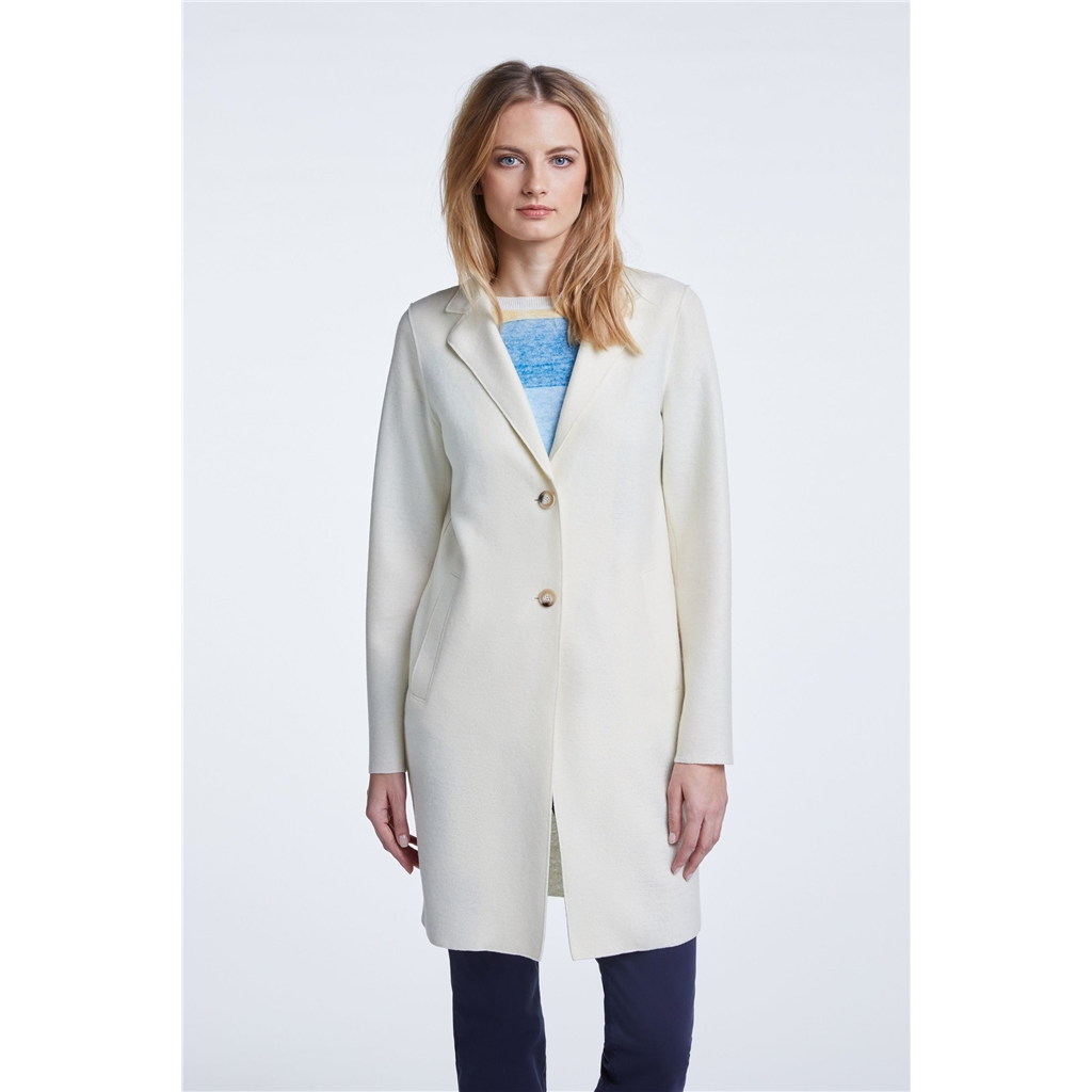 Oui Spring Wool Coat - Cream