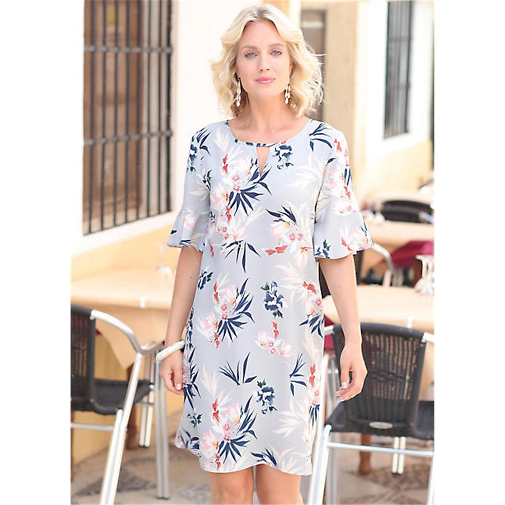 Pomodoro Botanical Print Dress - Light Grey