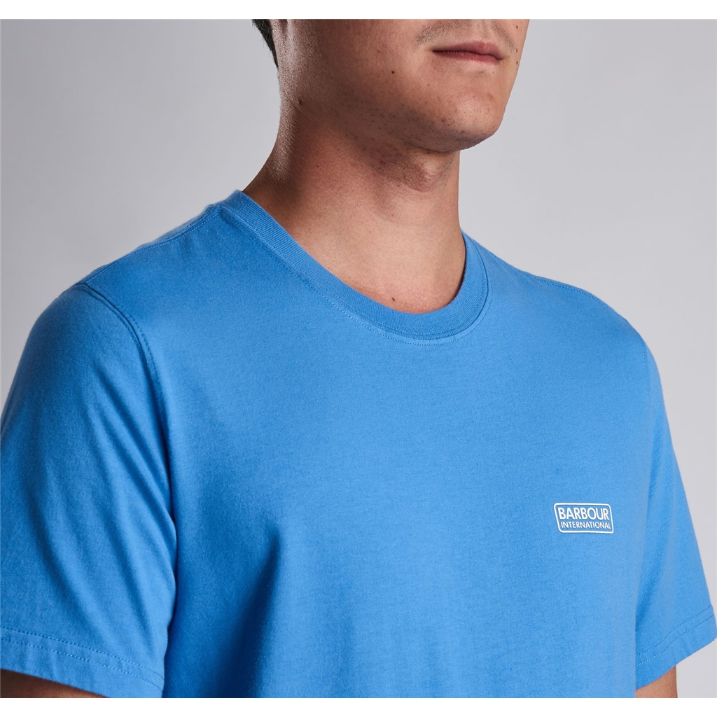New 2019 Barbour International Men's T-Shirt - Small Logo Tee - Vivid Blue