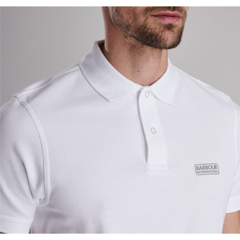 New 2019 Barbour International Men's Essential Polo Shirt - White