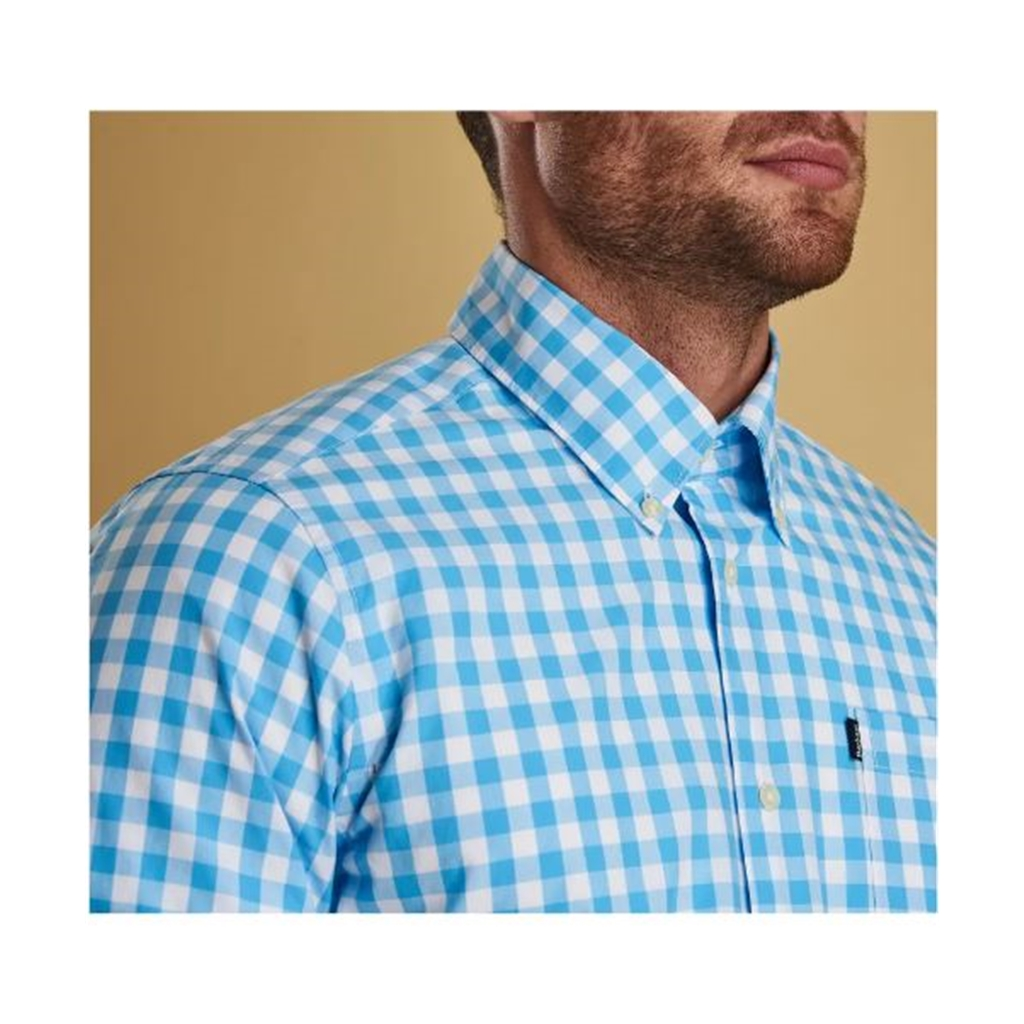 New 2019 Barbour Men's Tailored Short Sleeve Shirt - Gingham 3 - Pale Blue Check