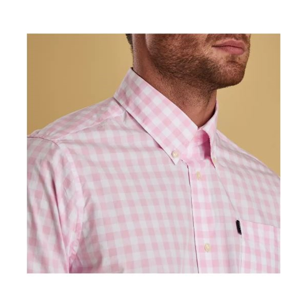 New 2019 Barbour Men's Tailored Short Sleeve Shirt - Gingham 3 - Pink Check