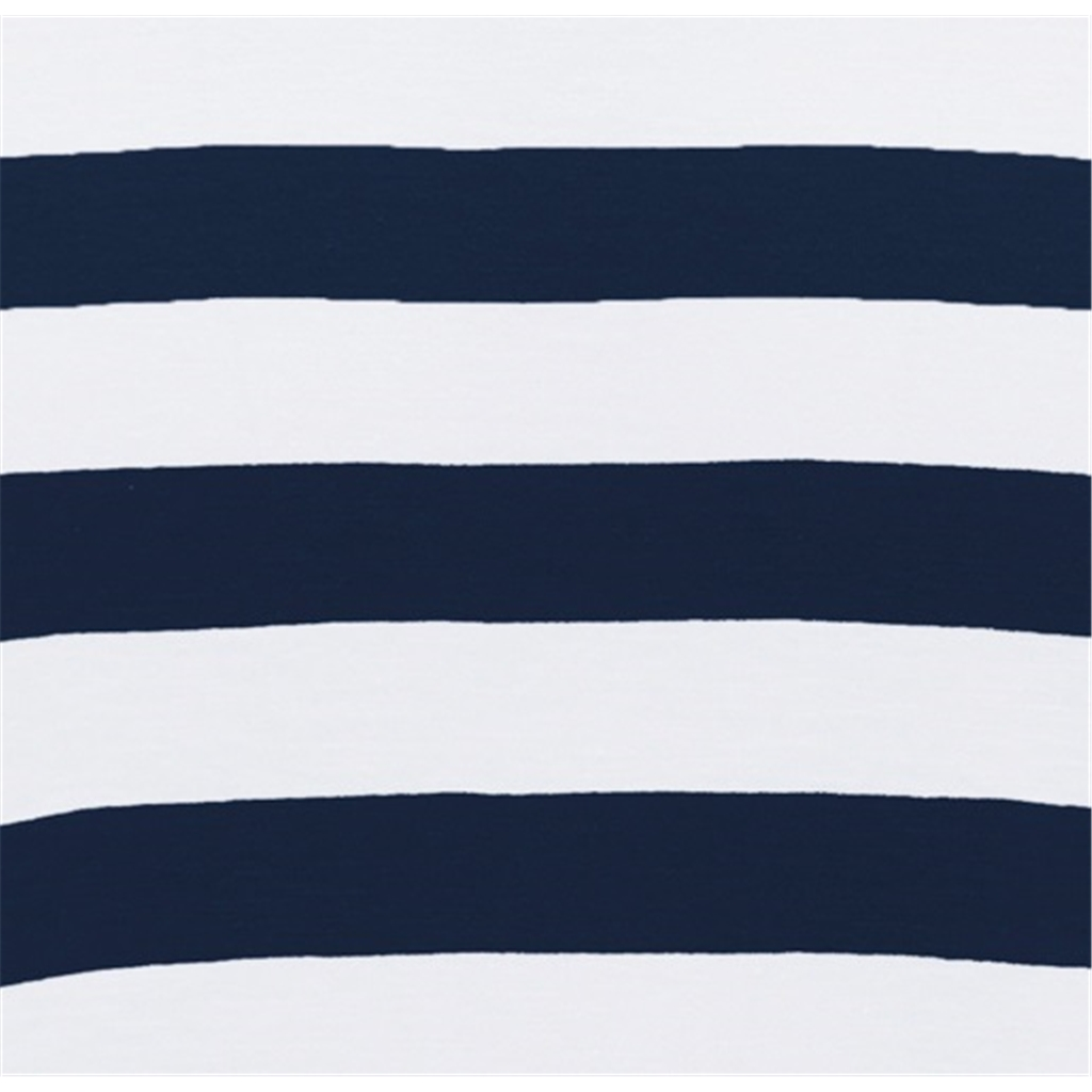 Fynch Hatton Striped Cotton T-Shirt - Blue and White Block Stripe