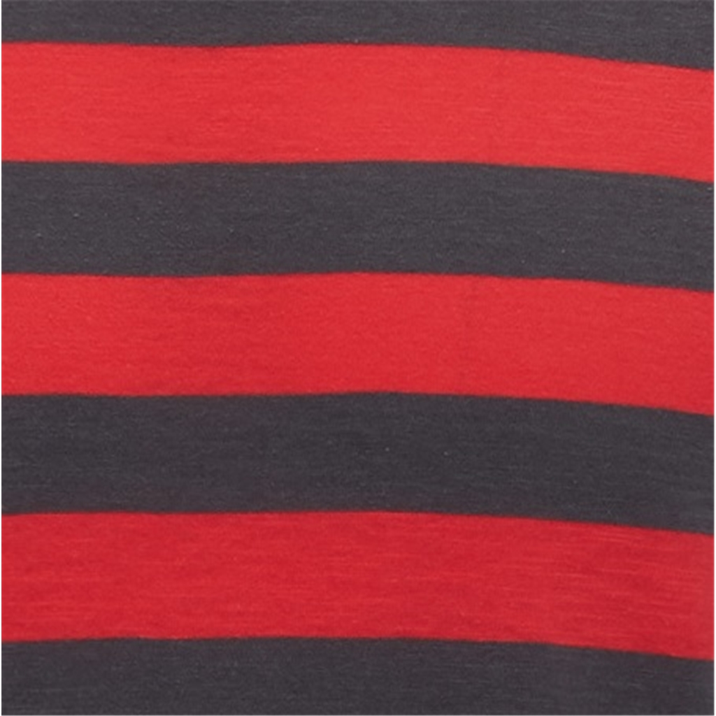 Fynch Hatton Striped Cotton T-Shirt - Flamingo and Grey Block Stripe