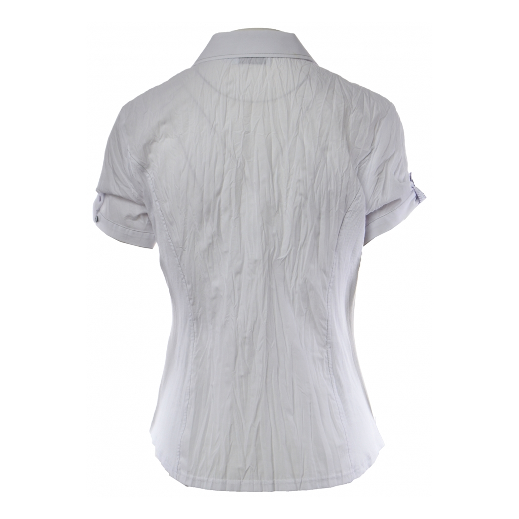 Just White Short Sleeved Crinkled Blouse - White/Lilac