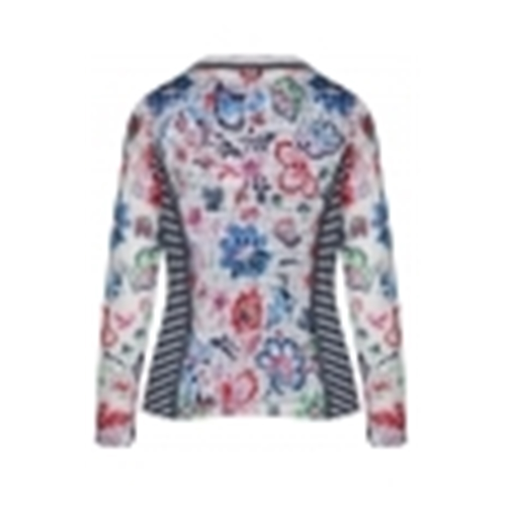 Just White Floral Stripe Sheer Jacket - Multi