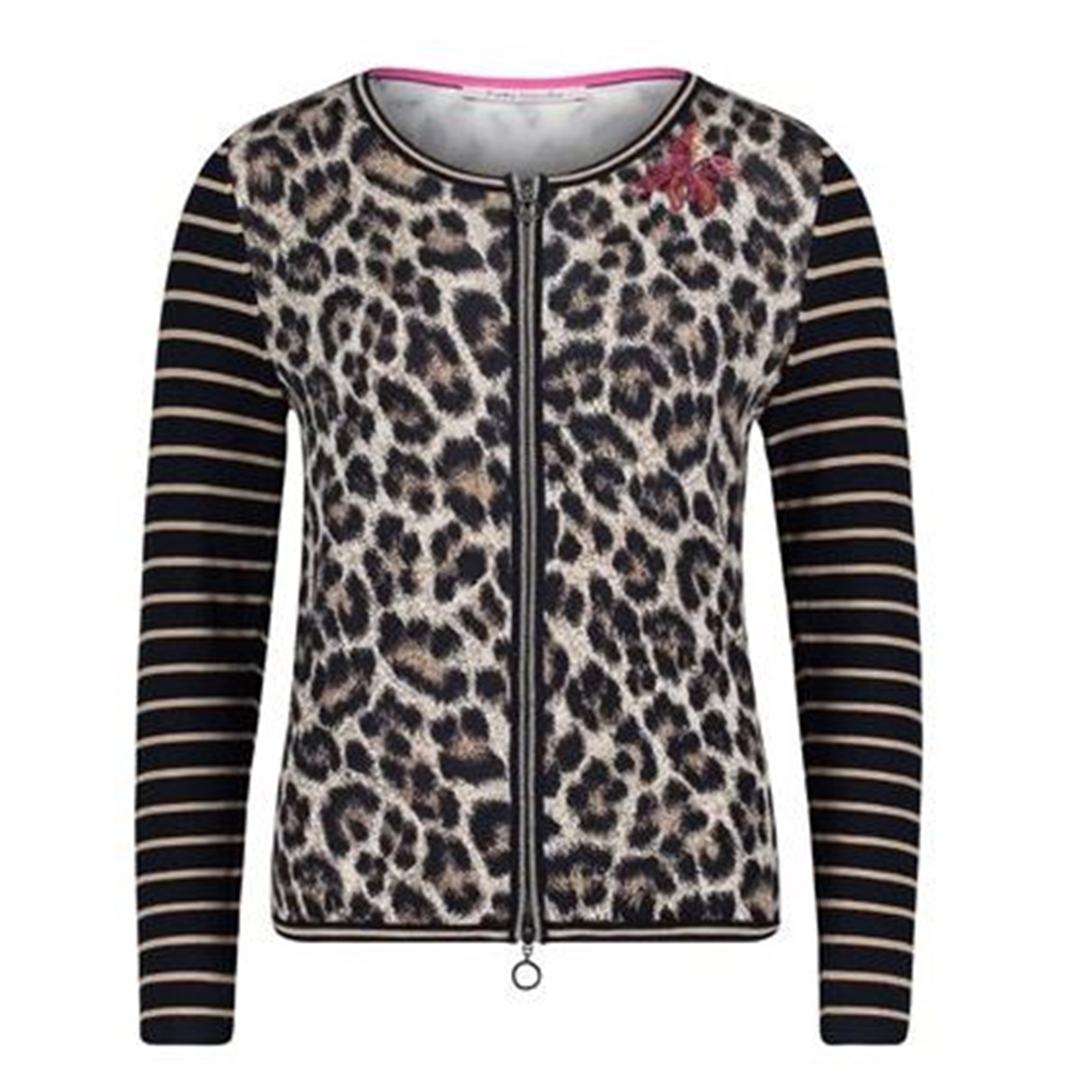 Betty Barclay - Animal Print Zip Jacket - Navy