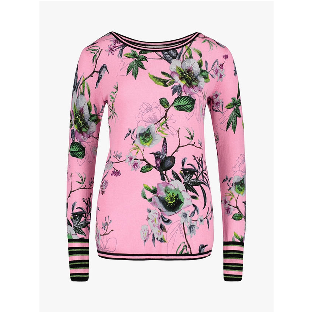 Betty Barclay - Fine Knit Floral Jumper - Pink