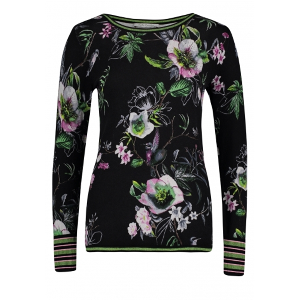 Betty Barclay - Fine Knit Floral Jumper - Black