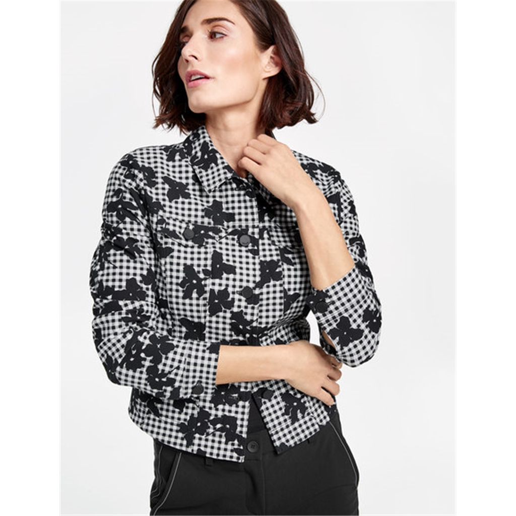 Gerry Weber Patterned Denim Jacket - Black/Ecru