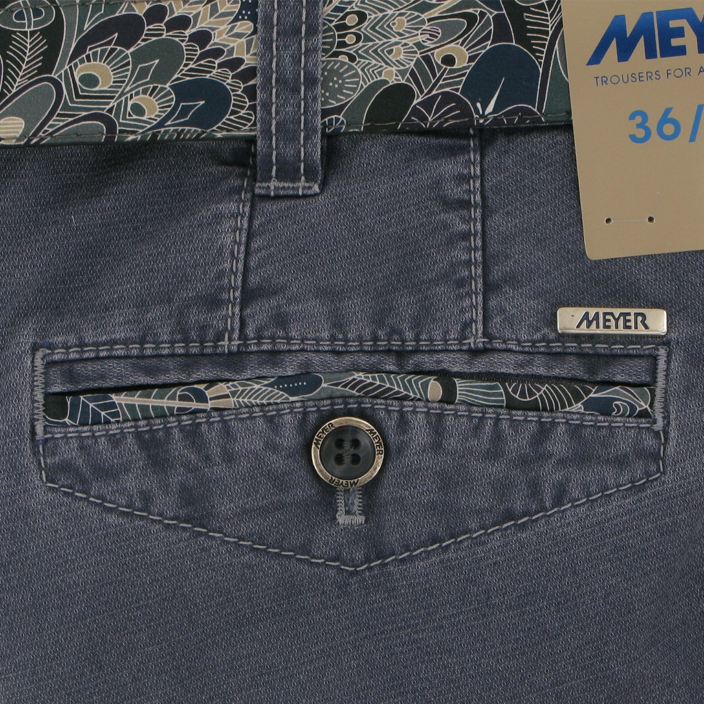"""Meyer Textured Cotton Trouser - Blue - Chicago 5005 17 - Size 32""""R Only"""