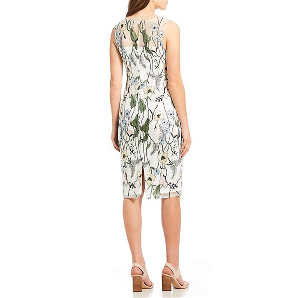 Adrianna Papell Floral Embroidered Dress - Ivory