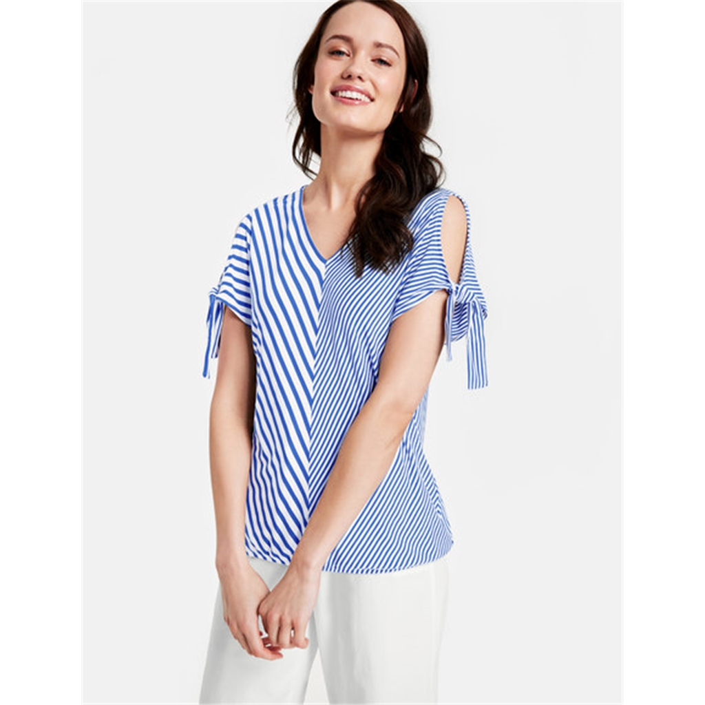 Gerry Weber Asymmetric Stripes Top - Blue