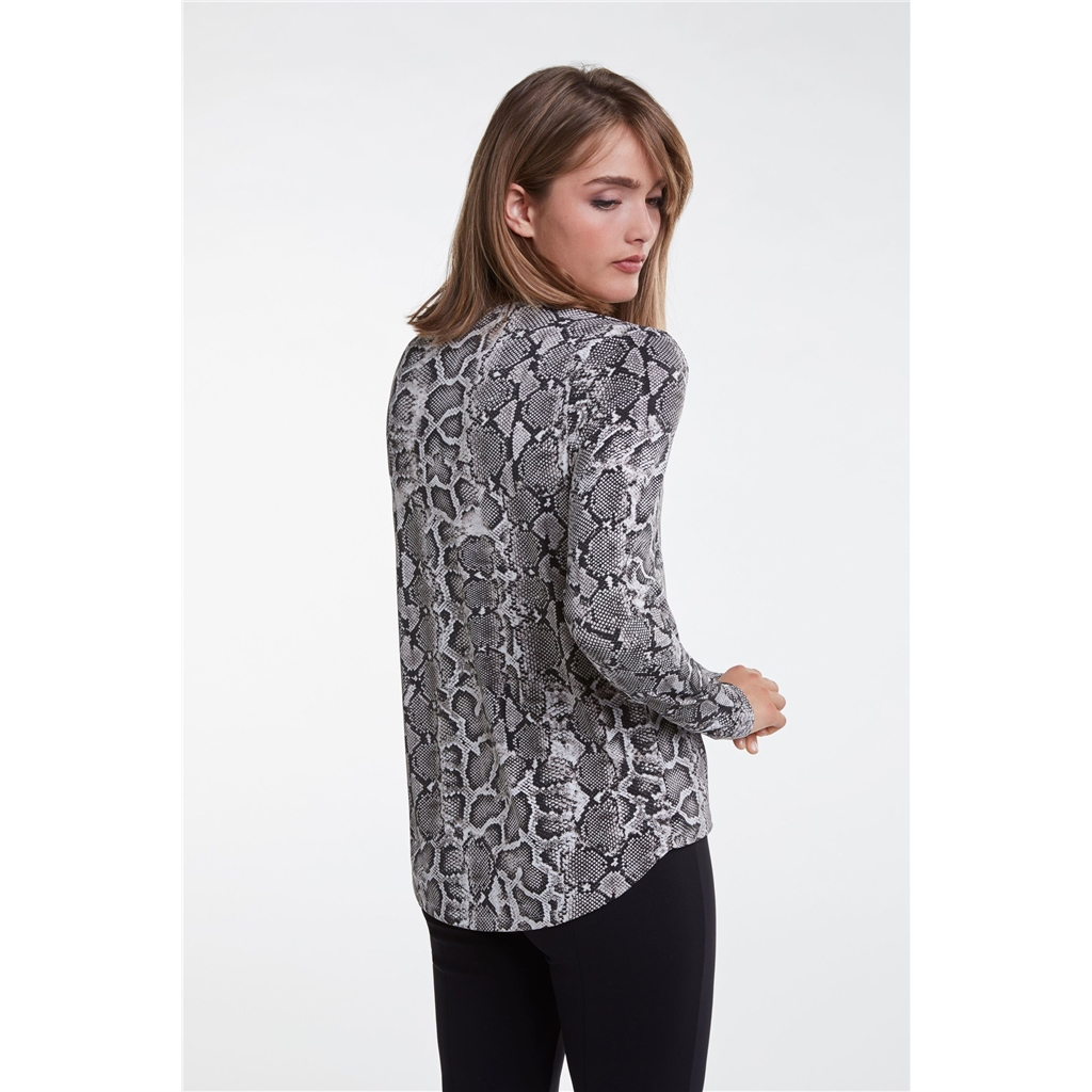 Oui Snakeskin Wrap Blouse - Black/White