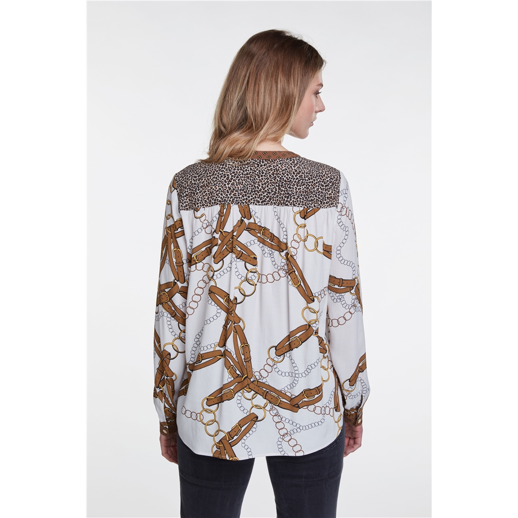 Oui Chain and Leopard Pattern Blouse - Caramel