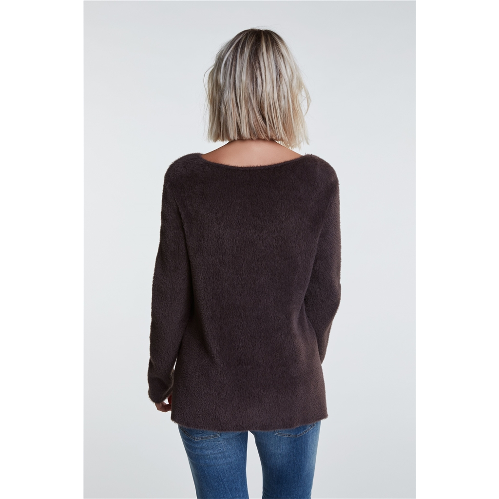 Oui Cosy Furry Jumper - Coffee