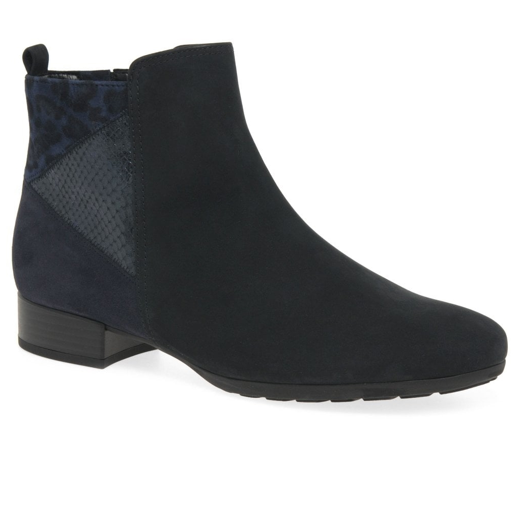 Gabor Bastia Ladies Wide Fitting Ankle Boots - Navy
