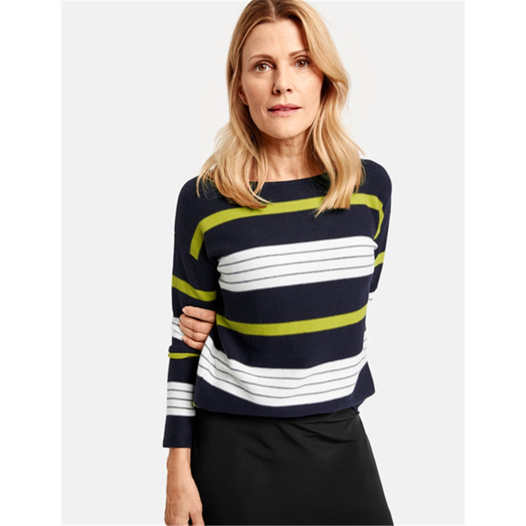 Gerry Weber Jumper With Block Stripes - Navy