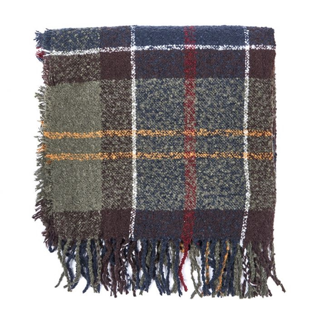 Barbour Classic Tartan Boucle Scarf - Olive