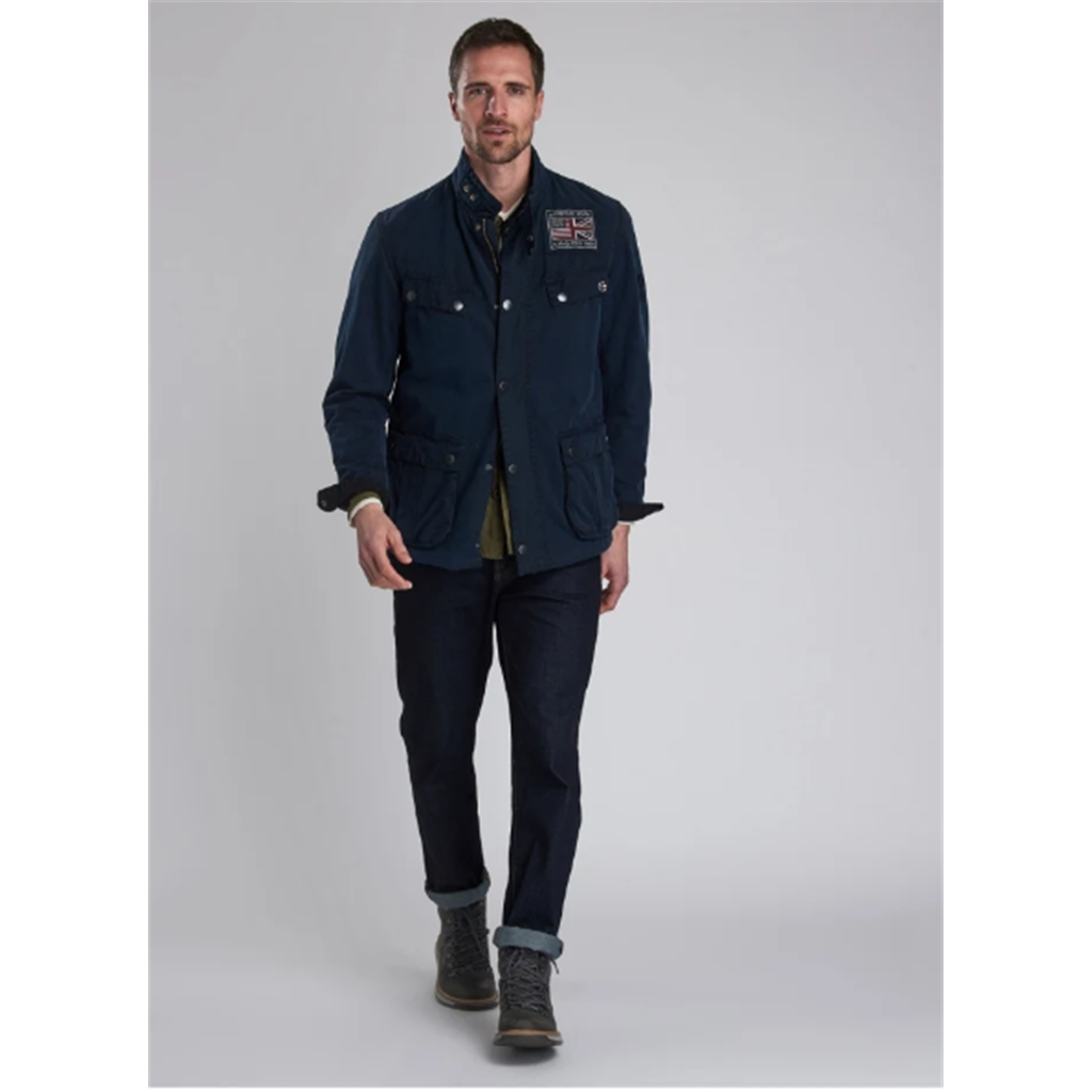 Barbour International Lester Washed Cotton Waxed Jacket - Navy