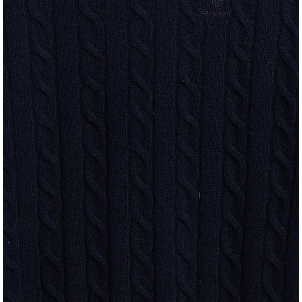Gant Lambswool Cable Crew - Evening Blue