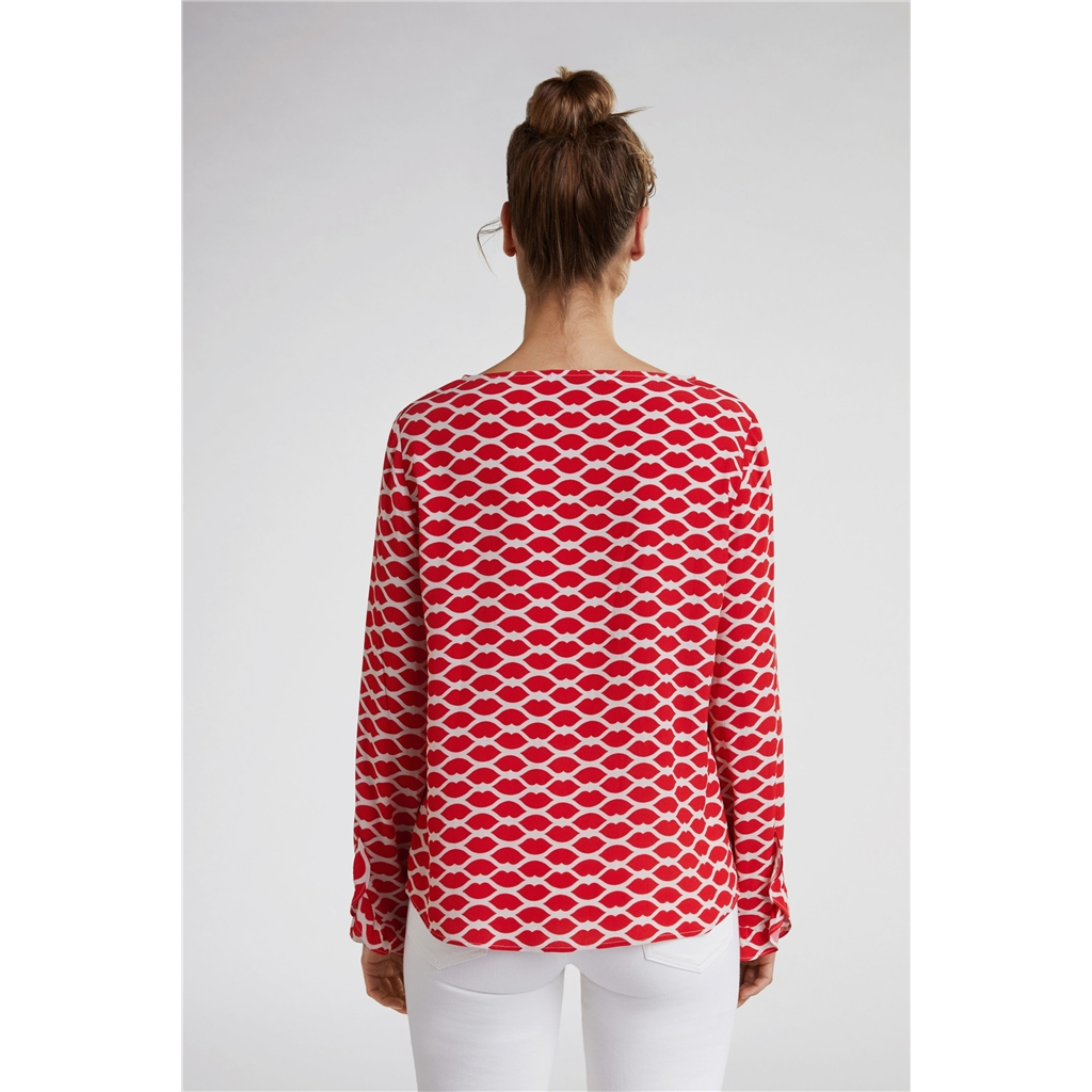 New 2020 Oui Lip Print Blouse - Red
