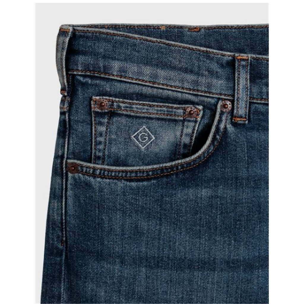 Gant Regular Fit Jeans - Mid Blue Worn In