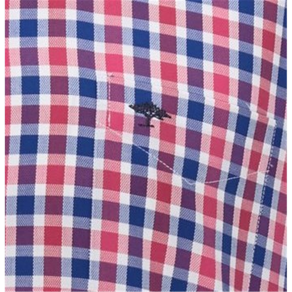 New 2020 Fynch Hatton Supersoft Structure Cotton Shirt - Navy Red Check