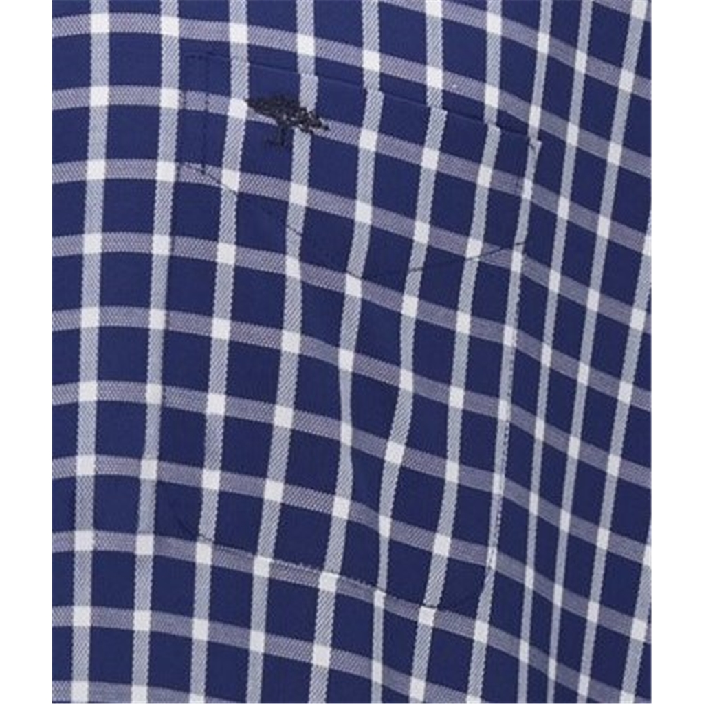 New 2020 Fynch Hatton Supersoft Structure Cotton Shirt - Navy Check