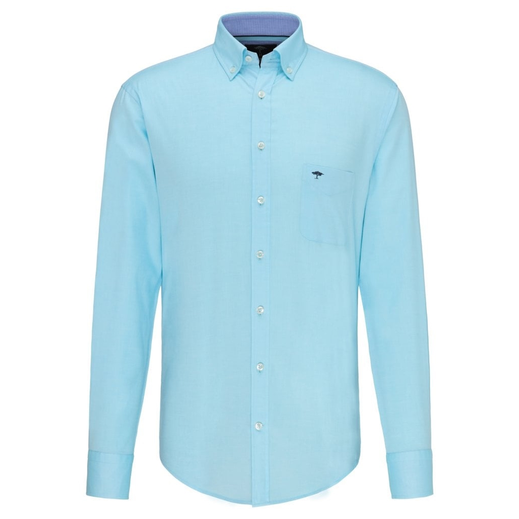 Fynch Hatton Soft Compact Cotton Shirt - Aqua