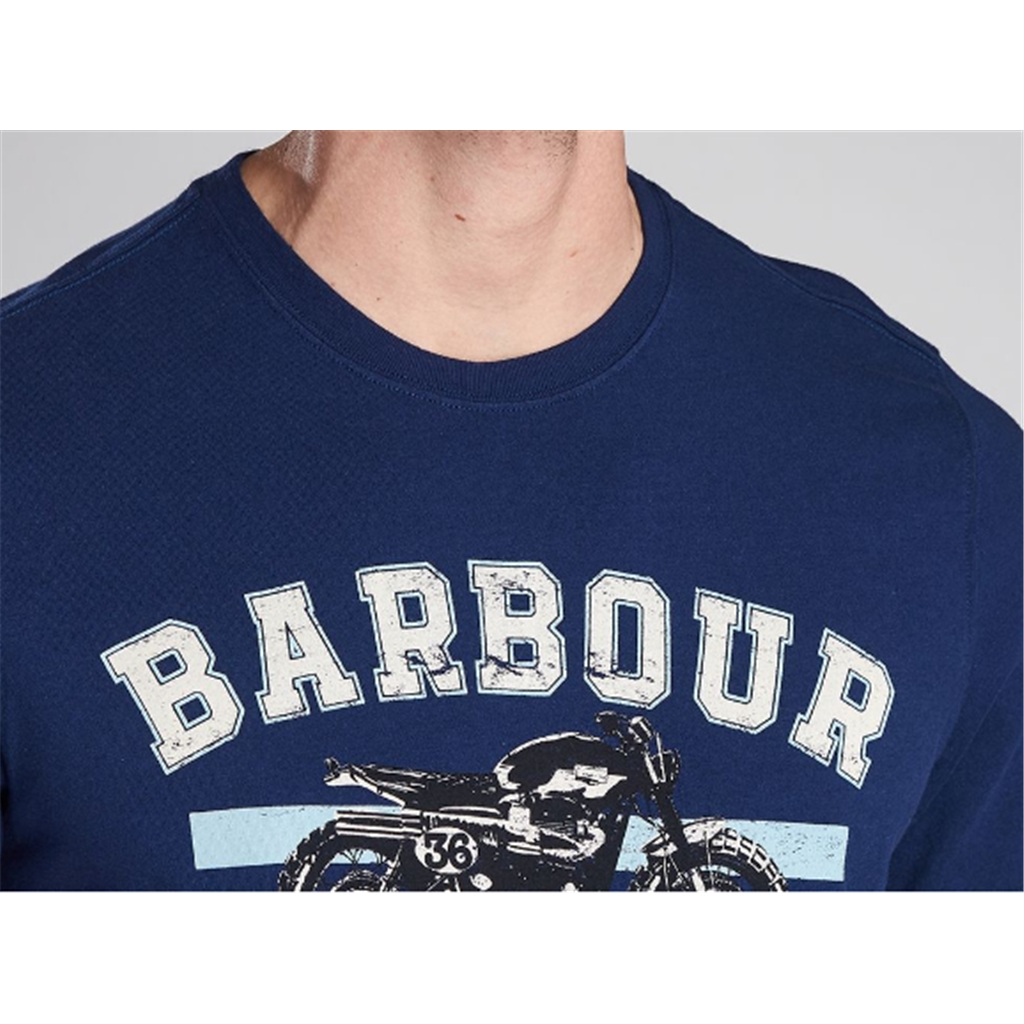 New 2020 Barbour International Men's Bracket T-Shirt - Regal Blue
