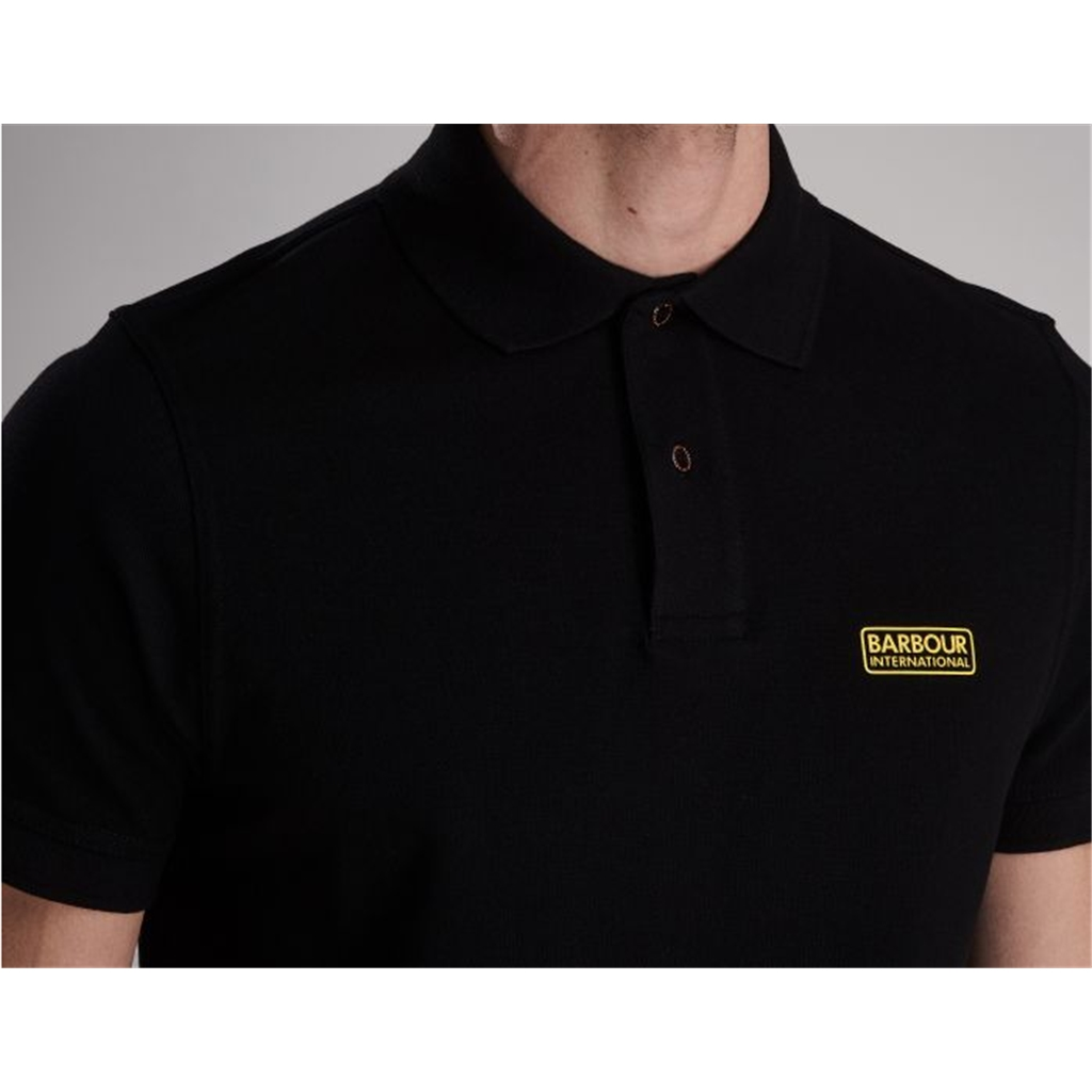 New 2020 Barbour International Men's Essential Pique Polo Shirt - Black