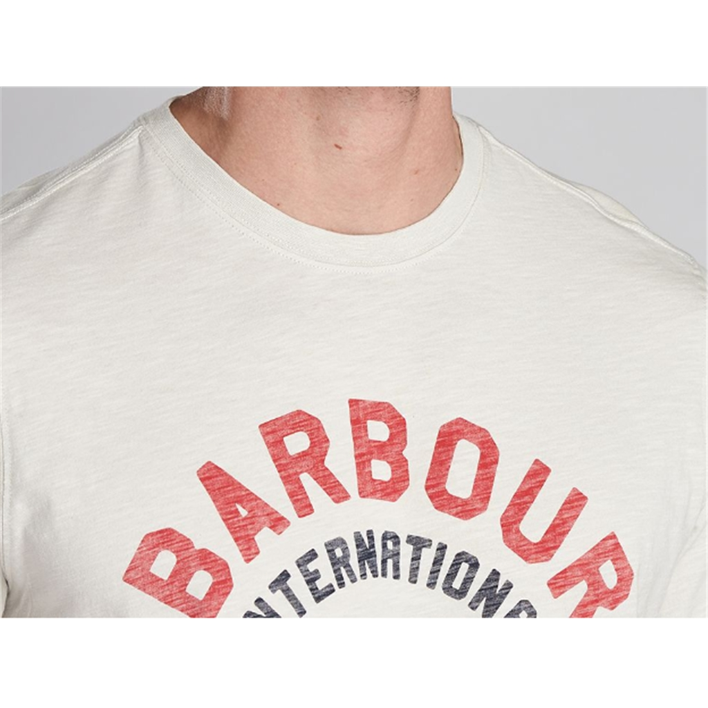 New 2020 Barbour International Men's Device T-Shirt - Cloud White